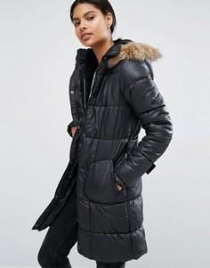 Стеганая куртка с искусственным мехом и поясом Vila - Черный