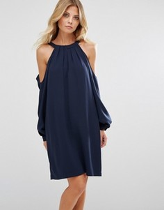 Платье с халтером и открытыми плечами BCBG MAXAZRIA - Темно-синий