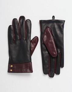 Кожаные перчатки со вставками для пользования сенсорным экраном ASOS - Мульти