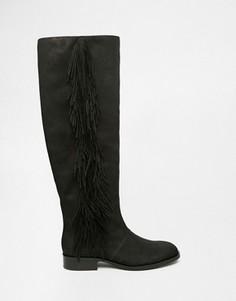 Черные кожаные сапоги с бахромой Sam Edelman Josephine - Черный