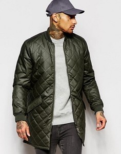Длинная стеганая куртка-пилот цвета хаки ASOS - Зеленый