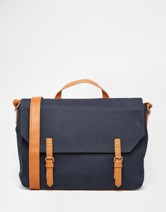 Синяя сумка сэтчел из парусины с контрастной отделкой ASOS - Синий
