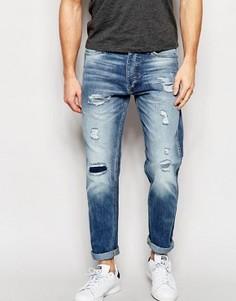 Светлые рваные джинсы слим Jack & Jones - Синий