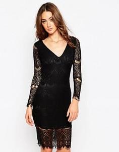 Кружевное платье с длинными рукавами Sistaglam Nina - Черный