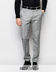 Эксклюзивные зауженные брюки с рисунком в клетку принц Уэльский Number Eight Savile Row - Серый