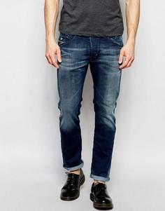 Эластичные светлые джинсы слим в винтажном стиле Diesel Belther 848Z - Синий