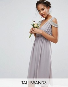 Платье миди с запахом спереди TFNC Tall WEDDING - Серый