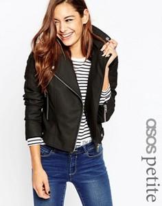 Байкерская куртка с окантовкой ASOS PETITE Ultimate - Черный