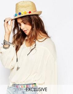 Соломенная шляпа с помпонами Catarzi - Бежевый
