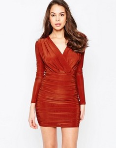 Платье с длинными рукавами и V-образным вырезом AX Paris - Красный