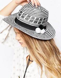 Тканая шляпа с помпонами 7X - Белый