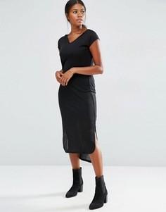 Трикотажное платье миди в рубчик с короткими рукавами Vero Moda - Черный