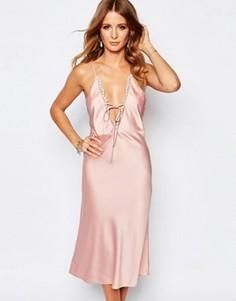 Платье-комбинация с завязкой спереди Millie Mackintosh - Розовый