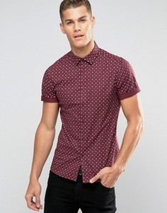 Бордовая рубашка с короткими рукавами и принтом пейсли ASOS - Красный