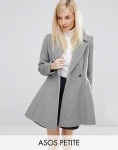 Короткое расклешенное пальто с добавлением шерсти с большим воротником и поясом ASOS PETITE - Серый