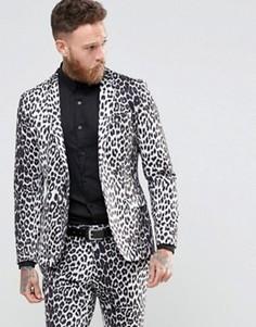 Облегающий блейзер с леопардовым принтом Religion - Серый