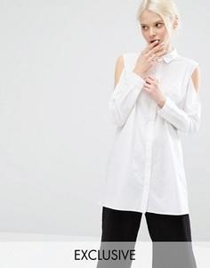 Эксклюзивная рубашка с открытыми плечами Monki - Белый