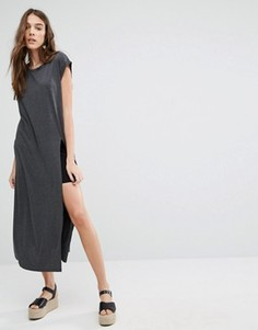 Платье-футболка макси с разрезом Brave Soul - Серый