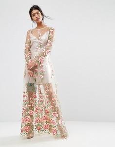 Платье миди с цветочной вышивкой и подкладкой-сорочкой цвета металлик ASOS SALON - Розовый