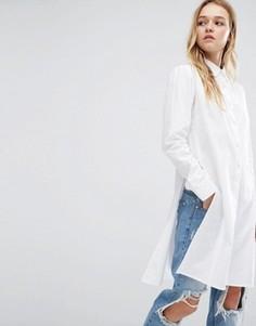 Удлиненная рубашка с разрезом по шву Daisy Street - Белый