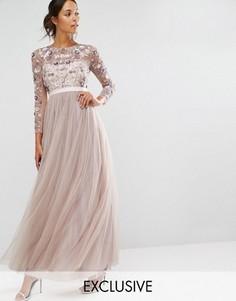 Платье из тюля с цветочной отделкой Needle & Thread - Серый