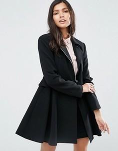 Короткое приталенное пальто в байкерском стиле с отлетной кокеткой ASOS - Черный
