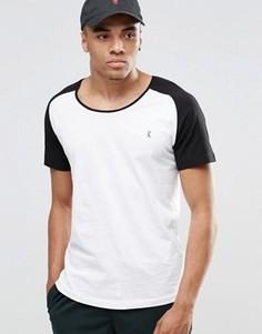 Пляжная футболка с рукавами реглан и овальным вырезом Ringspun Co-ord - Белый