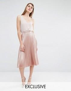 Плиссированная юбка миди True Violet - Розовый