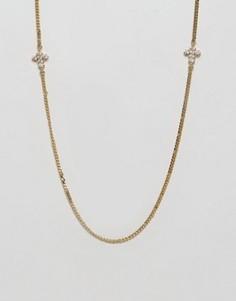 Золотистое ожерелье с двумя небольшими крестиками Mister - Золотой
