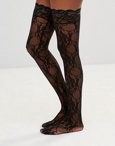 Носки с цветочным кружевом Leg Avenue Stay Up - Черный