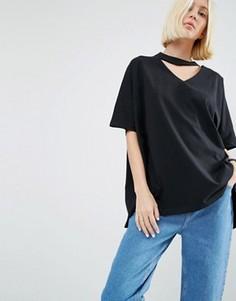 Oversize-футболка с V-образным вырезом ASOS WHITE - Черный