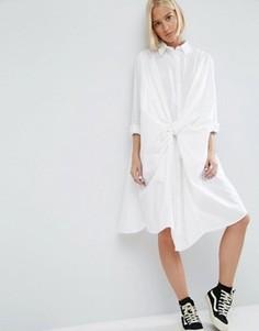 Платье-рубашка с узелком спереди ASOS WHITE - Белый