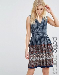 Платье для миниатюрных с принтом Yumi Petite - Темно-синий