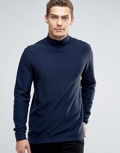 Джемпер со свободным вырезом и открытой кромкой Esprit - Темно-синий