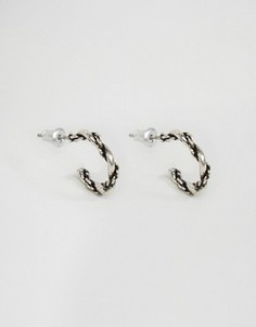 Серебристые фактурные серьги-кольца ASOS - Серебряный