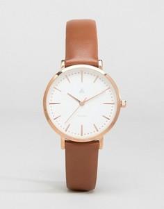 Розово-золотистые часы с коричневым кожаным ремешком ASOS Premium - Коричневый