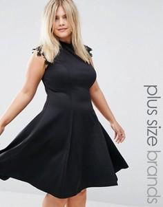 Короткое приталенное платье с кружевными рукавами Praslin Plus - Черный