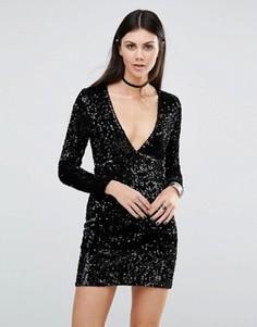 Облегающее платье с глубоким вырезом и отделкой пайетками Motel Meli - Черный