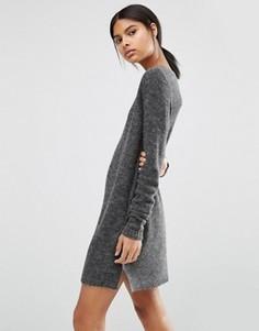 Свободное трикотажное платье мини Vila - Серый