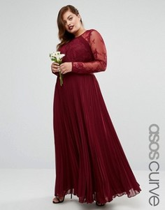 Плиссированное платье макси с кружевом ASOS CURVE WEDDING - Красный