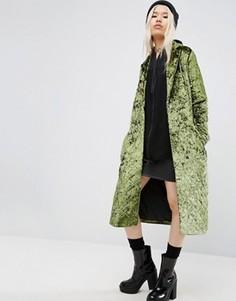 Длинное бархатное пальто ASOS - Зеленый