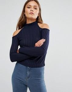 Трикотажный джемпер в рубчик с открытыми плечами New Look - Темно-синий