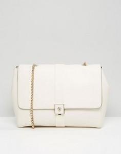Кожаная сумка на плечо с цепочками Modalu - Кремовый