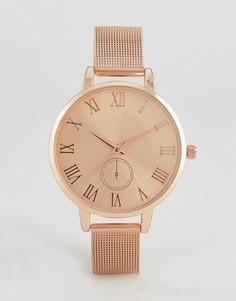 Часы цвета розового золота с однотонным сетчатым браслетом ASOS - Медный