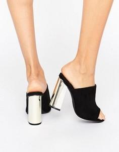 Сандалии на золотистом блочном каблуке Missguided - Черный