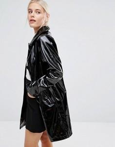 Лакированное пальто Monki - Черный