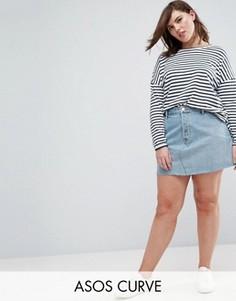 Голубая джинсовая мини-юбка ASOS CURVE - Синий