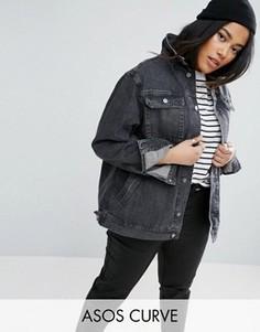 Черная джинсовая выбеленная куртка ASOS CURVE - Черный