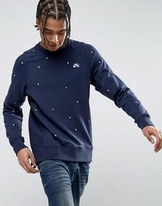 Темно-синий свитшот с круглым вырезом и геометрическим принтом Nike SB 829389-451 - Темно-синий