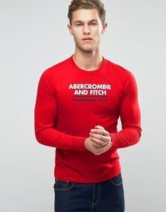 Красный лонгслив слим с логотипом Abercrombie & Fitch - Красный